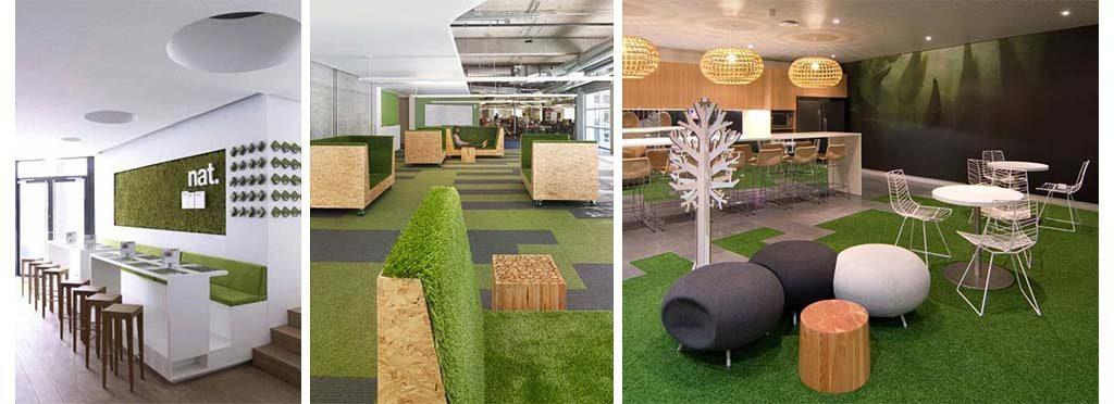 Decorar oficina con grama sintetica