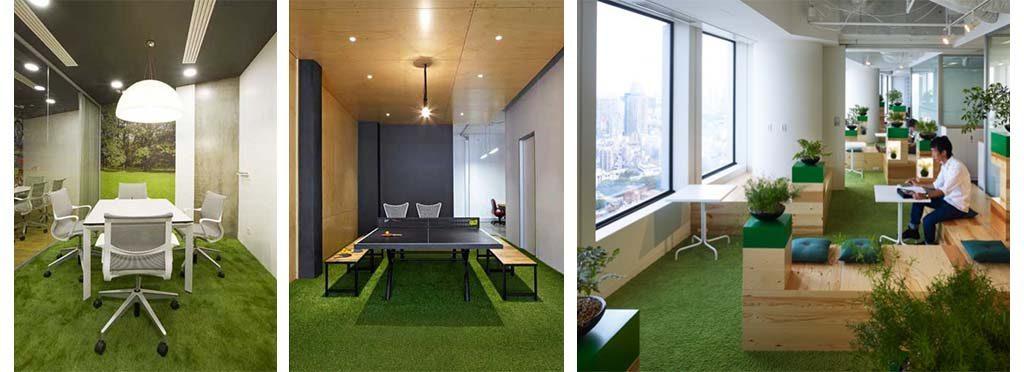 Decorar oficinas con grama artificial