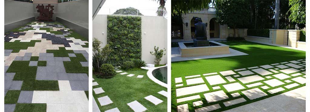 Decorar piso jardin exterior con grama sintética