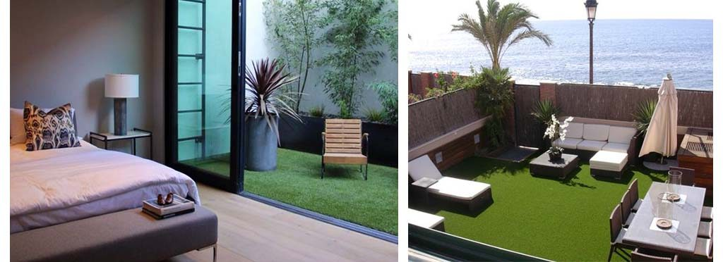 Decorar terraza con grama sintética