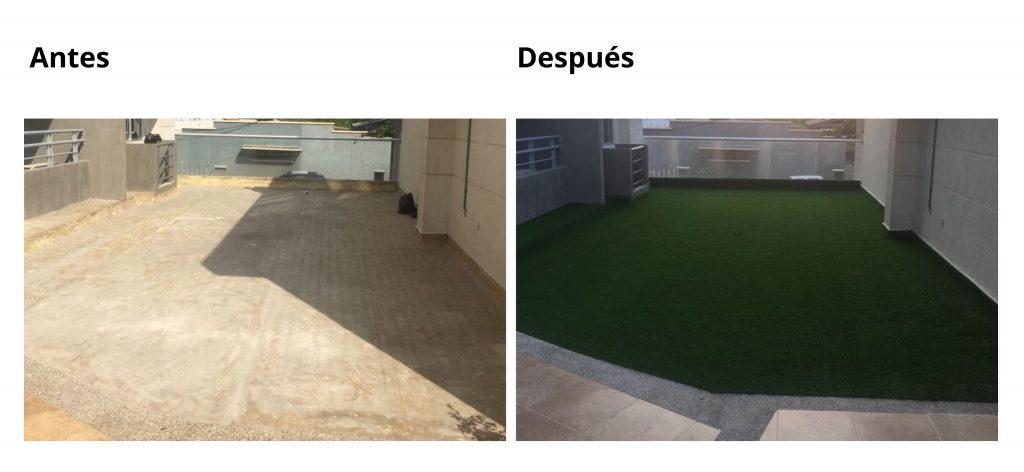 la grama artificial para jardin y terraza