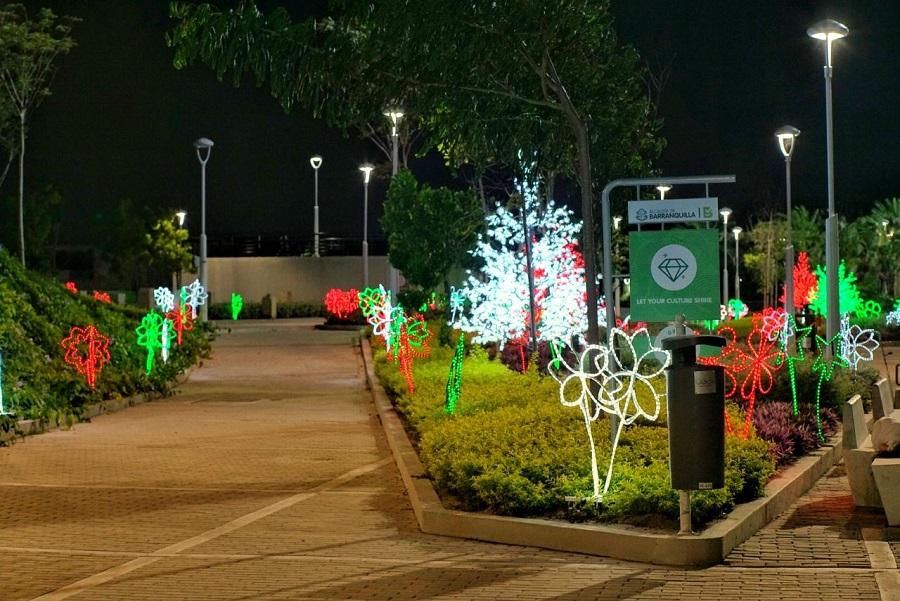 alumbrados navideños en parques infantiles de Barranquilla