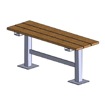 mobiliario urbano para parques banca de madera sin espaldar