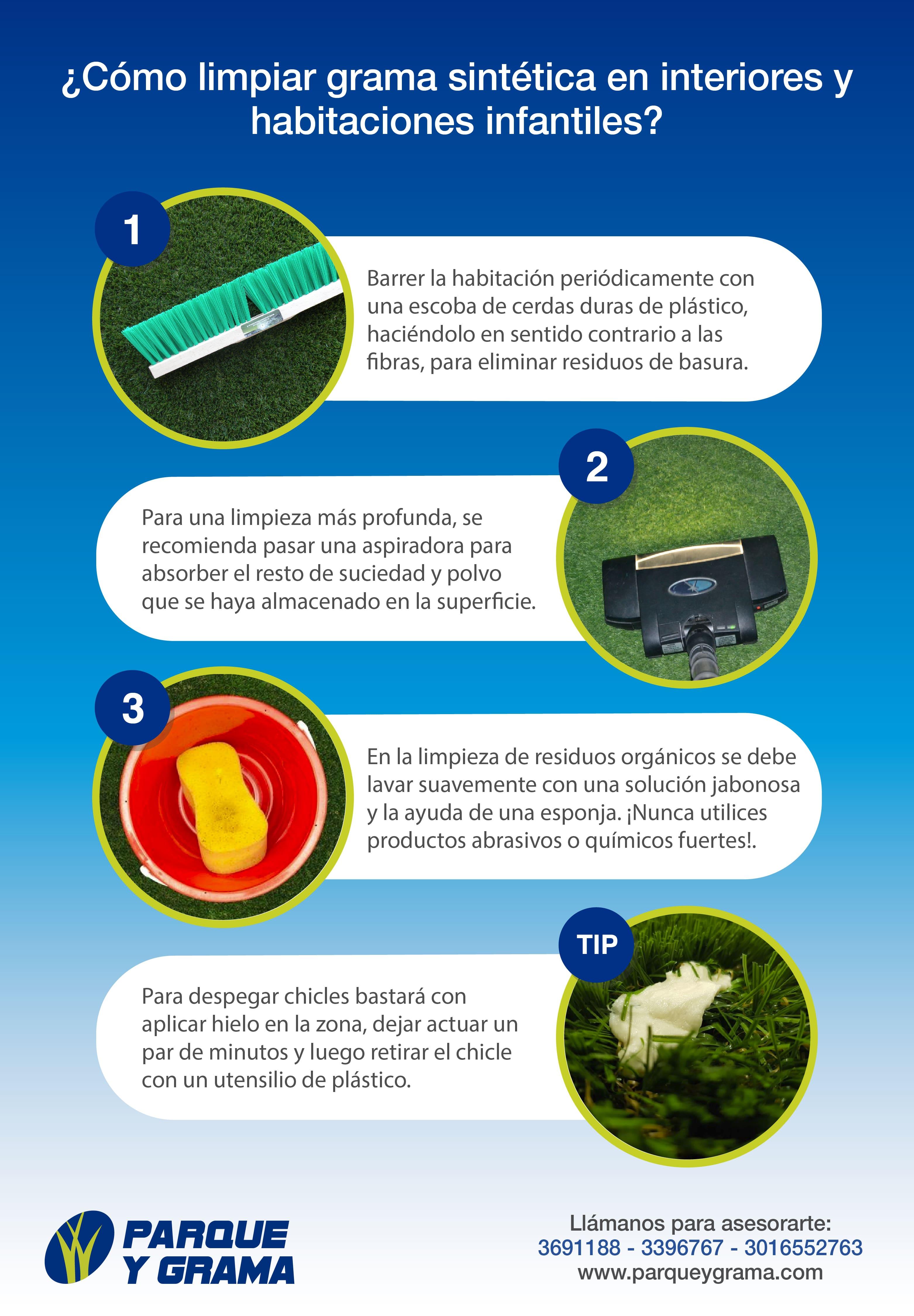 cómo limpiar grama sintética en interiores y habitaciones infantiles infografía