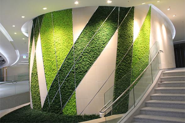 renovación de espacios interiores con grama sintética en paredes